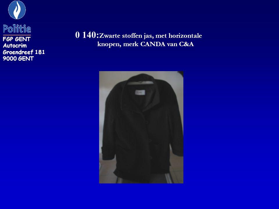 0 140: Zwarte stoffen jas, met horizontale knopen, merk CANDA van C&A FGP GENT Autocrim Groendreef 181 9000 GENT