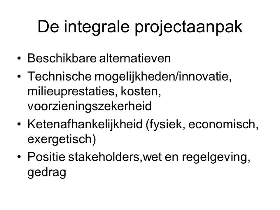 De integrale projectaanpak Beschikbare alternatieven Technische mogelijkheden/innovatie, milieuprestaties, kosten, voorzieningszekerheid Ketenafhankelijkheid (fysiek, economisch, exergetisch) Positie stakeholders,wet en regelgeving, gedrag
