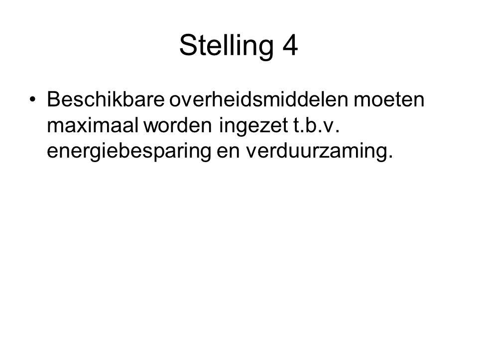 Stelling 4 Beschikbare overheidsmiddelen moeten maximaal worden ingezet t.b.v.
