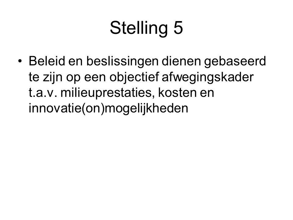 Stelling 5 Beleid en beslissingen dienen gebaseerd te zijn op een objectief afwegingskader t.a.v.