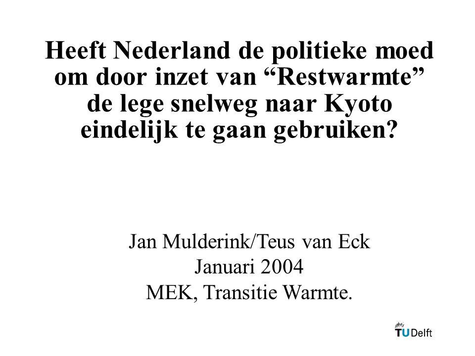 """Heeft Nederland de politieke moed om door inzet van """"Restwarmte"""" de lege snelweg naar Kyoto eindelijk te gaan gebruiken? Jan Mulderink/Teus van Eck Ja"""