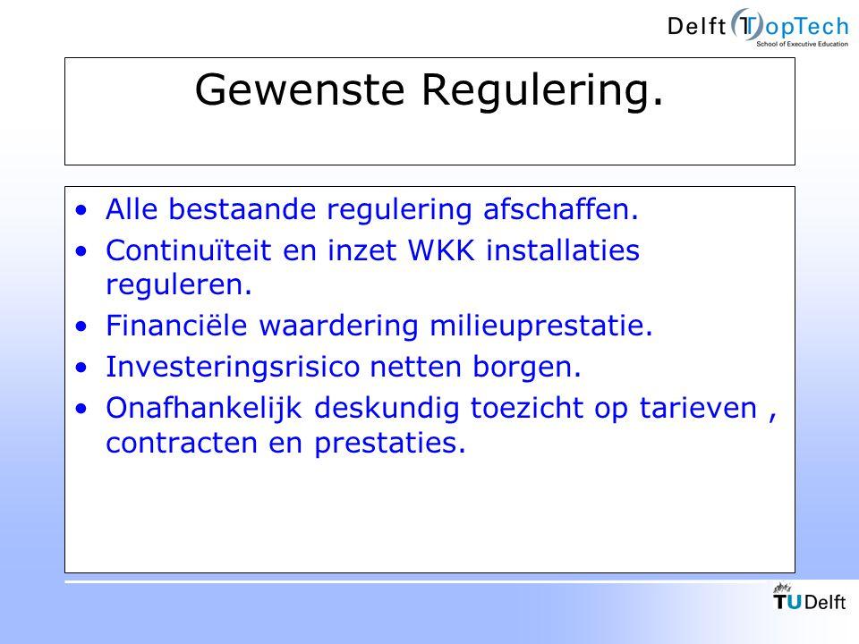 Gewenste Regulering. Alle bestaande regulering afschaffen. Continuïteit en inzet WKK installaties reguleren. Financiële waardering milieuprestatie. In
