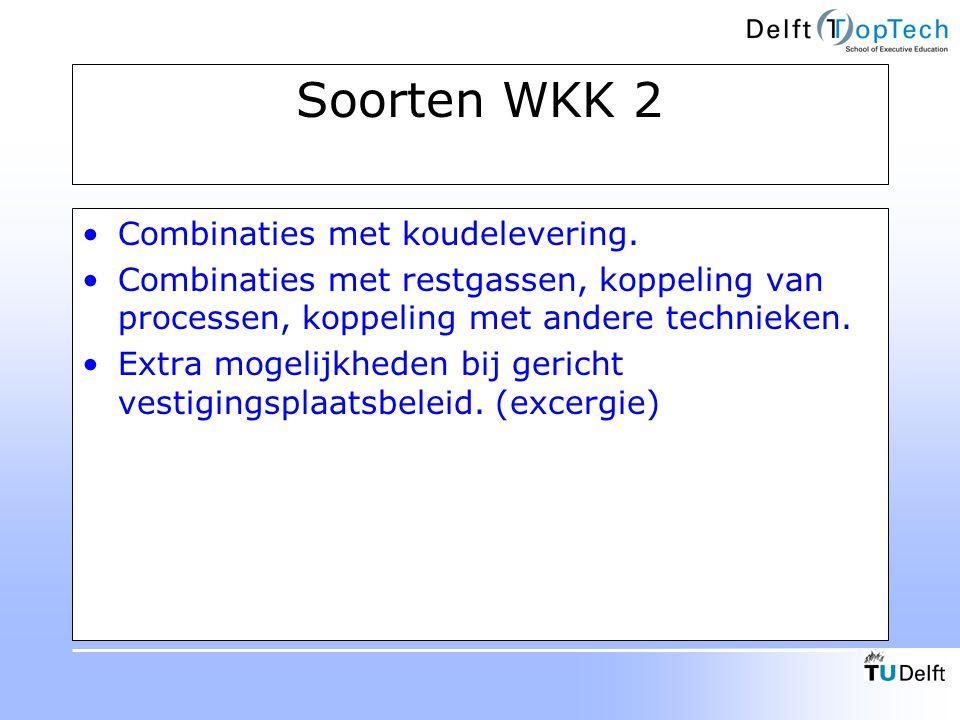 Soorten WKK 2 Combinaties met koudelevering. Combinaties met restgassen, koppeling van processen, koppeling met andere technieken. Extra mogelijkheden