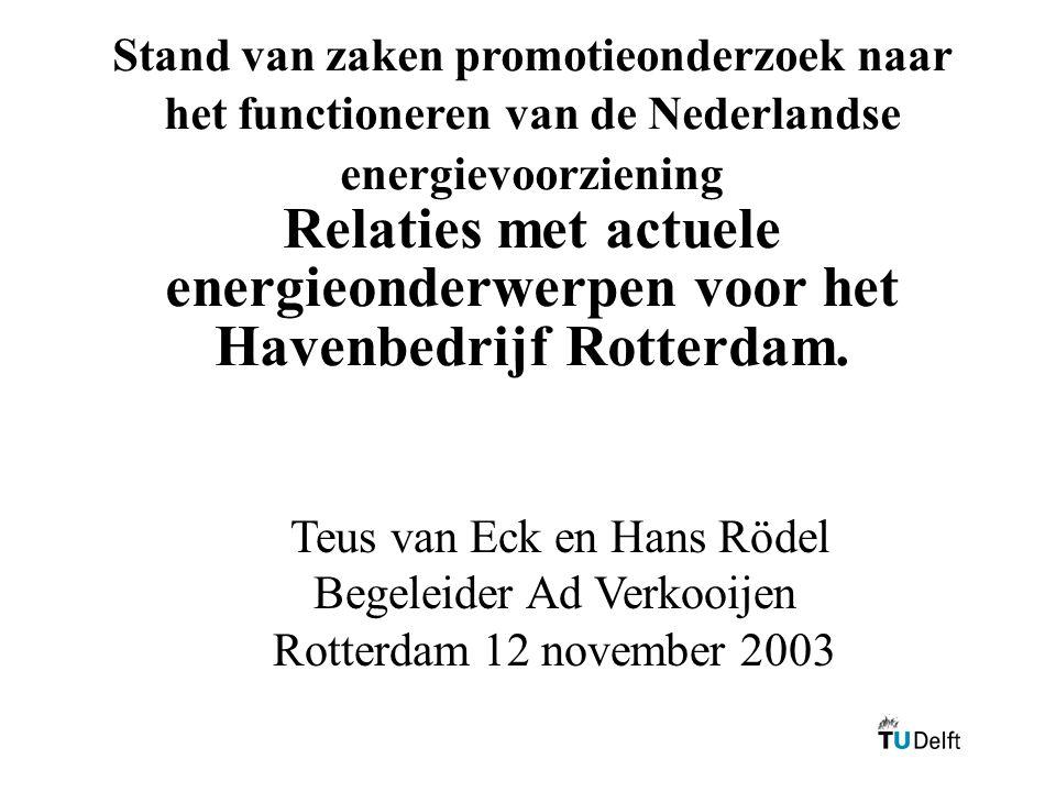 Stand van zaken promotieonderzoek naar het functioneren van de Nederlandse energievoorziening Relaties met actuele energieonderwerpen voor het Havenbedrijf Rotterdam.