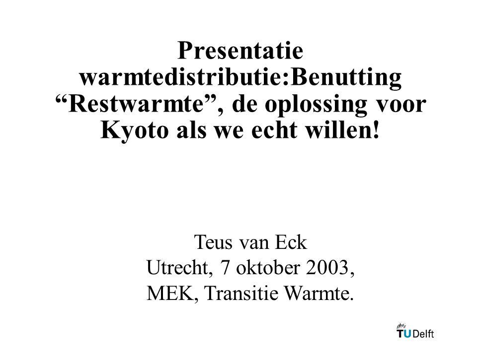 Presentatie warmtedistributie:Benutting Restwarmte , de oplossing voor Kyoto als we echt willen.