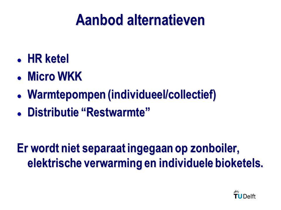 Aanbod alternatieven l HR ketel l Micro WKK l Warmtepompen (individueel/collectief) l Distributie Restwarmte Er wordt niet separaat ingegaan op zonboiler, elektrische verwarming en individuele bioketels.