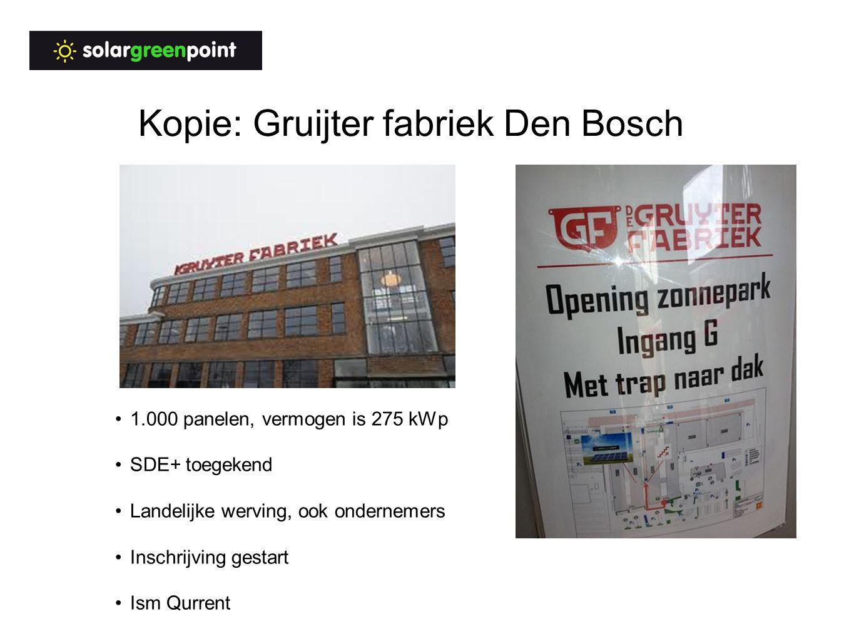 Kopie: Gruijter fabriek Den Bosch 1.000 panelen, vermogen is 275 kWp SDE+ toegekend Landelijke werving, ook ondernemers Inschrijving gestart Ism Qurrent
