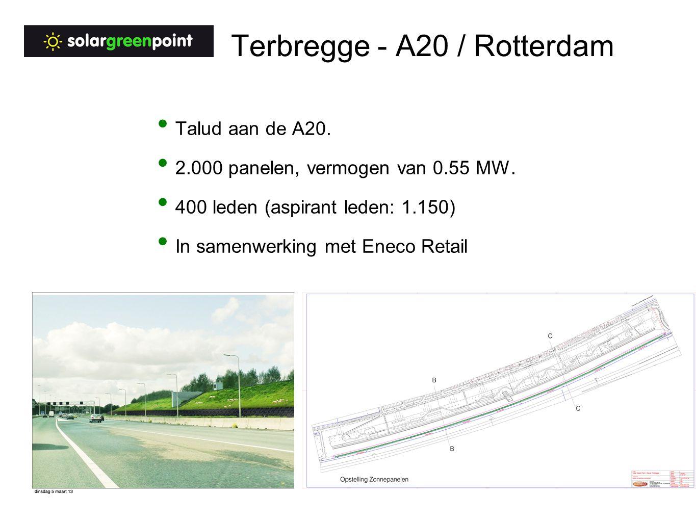 Terbregge - A20 / Rotterdam Talud aan de A20. 2.000 panelen, vermogen van 0.55 MW.