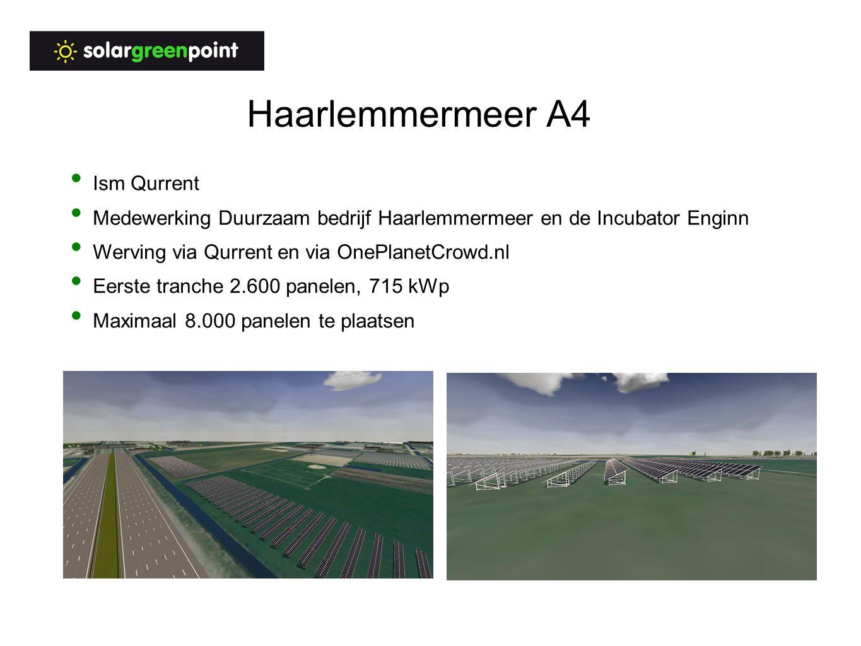 Haarlemmermeer A4 Ism Qurrent Medewerking Duurzaam bedrijf Haarlemmermeer en de Incubator Enginn Werving via Qurrent en via OnePlanetCrowd.nl Eerste tranche 2.600 panelen, 715 kWp Maximaal 8.000 panelen te plaatsen