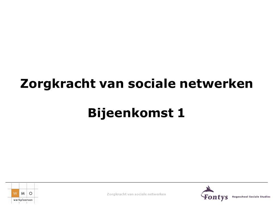 Zorgkracht van sociale netwerken Bijeenkomst 1