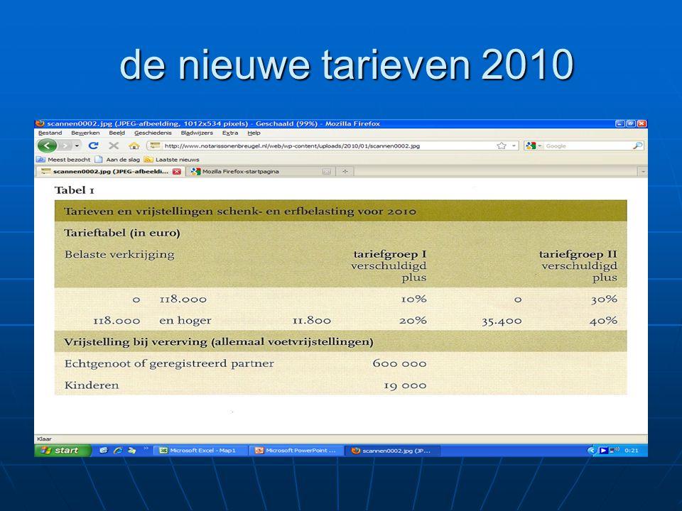 de nieuwe tarieven 2010 de nieuwe tarieven 2010
