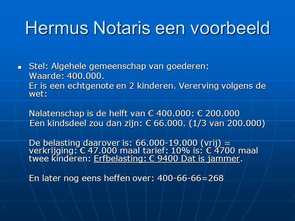 Hermus Notaris een voorbeeld Stel: Algehele gemeenschap van goederen: Stel: Algehele gemeenschap van goederen: Waarde: 400.000.