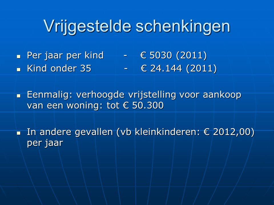 Vrijgestelde schenkingen Per jaar per kind - € 5030 (2011) Per jaar per kind - € 5030 (2011) Kind onder 35 - € 24.144 (2011) Kind onder 35 - € 24.144 (2011) Eenmalig: verhoogde vrijstelling voor aankoop van een woning: tot € 50.300 Eenmalig: verhoogde vrijstelling voor aankoop van een woning: tot € 50.300 In andere gevallen (vb kleinkinderen: € 2012,00) per jaar In andere gevallen (vb kleinkinderen: € 2012,00) per jaar