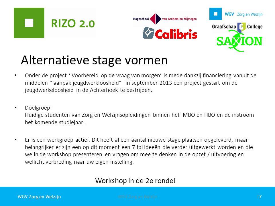 """7WGV Zorg en Welzijn Alternatieve stage vormen Onder de project ' Voorbereid op de vraag van morgen' is mede dankzij financiering vanuit de middelen """""""