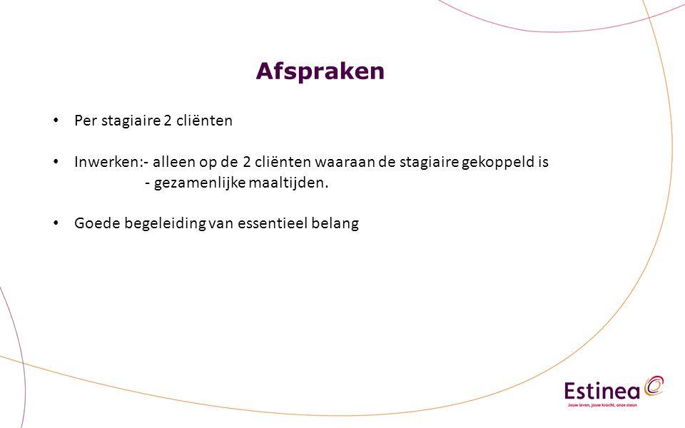 Afspraken Per stagiaire 2 cliënten Inwerken:- alleen op de 2 cliënten waaraan de stagiaire gekoppeld is - gezamenlijke maaltijden.