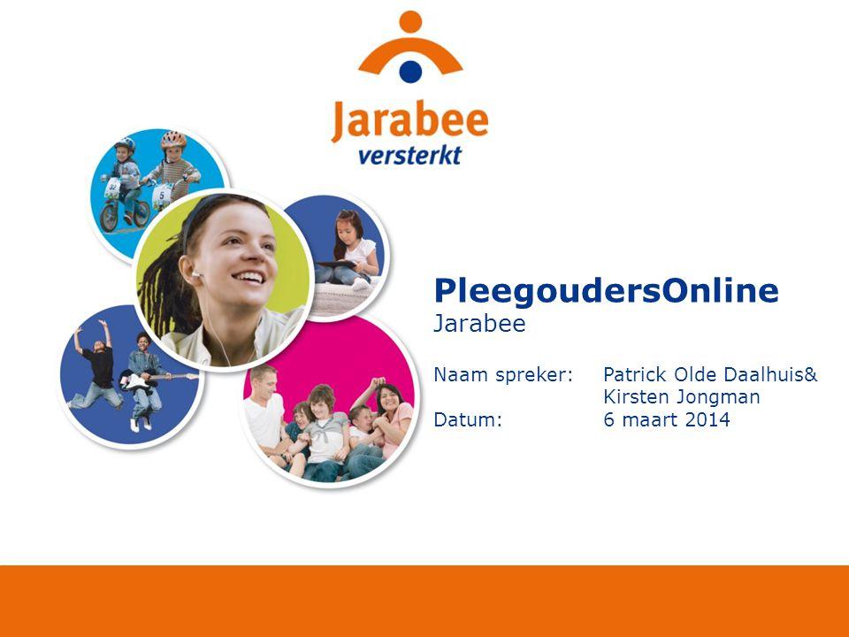PleegoudersOnline Jarabee Naam spreker: Patrick Olde Daalhuis& Kirsten Jongman Datum:6 maart 2014