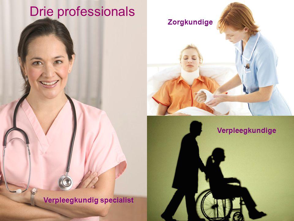 Drie professionals Verpleegkundige Zorgkundige Verpleegkundig specialist