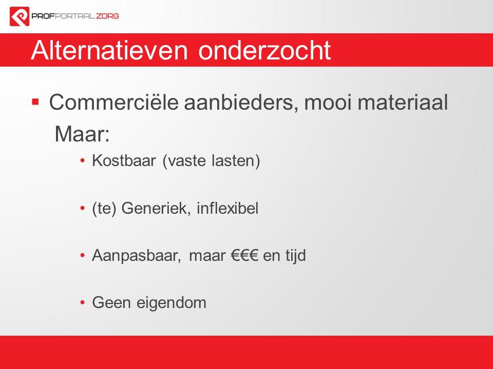 Alternatieven onderzocht  Commerciële aanbieders, mooi materiaal Maar: Kostbaar (vaste lasten) (te) Generiek, inflexibel Aanpasbaar, maar €€€ en tijd