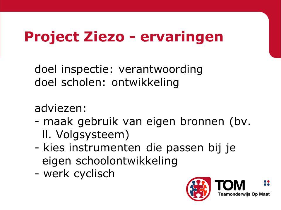 Project Ziezo - ervaringen doel inspectie: verantwoording doel scholen: ontwikkeling adviezen: - maak gebruik van eigen bronnen (bv. ll. Volgsysteem)