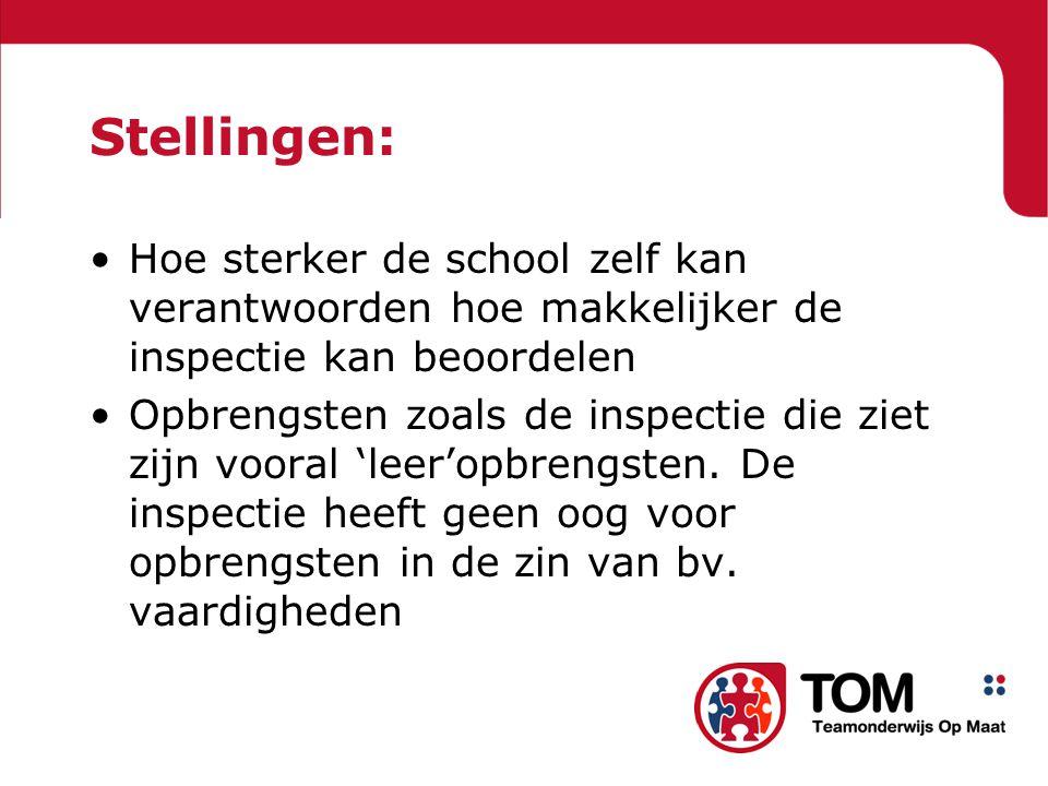 Stellingen: Hoe sterker de school zelf kan verantwoorden hoe makkelijker de inspectie kan beoordelen Opbrengsten zoals de inspectie die ziet zijn vooral 'leer'opbrengsten.