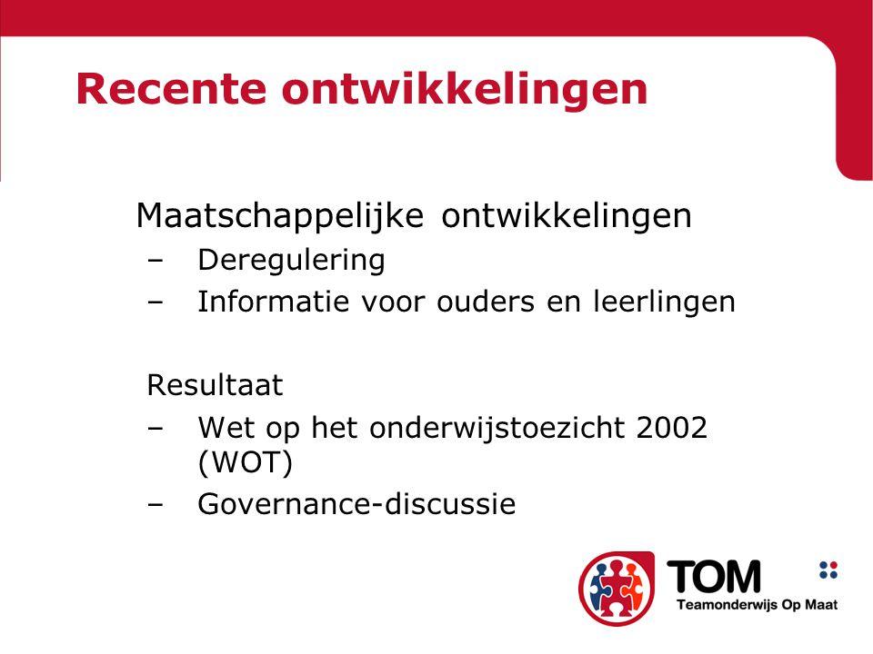 Recente ontwikkelingen Maatschappelijke ontwikkelingen –Deregulering –Informatie voor ouders en leerlingen Resultaat –Wet op het onderwijstoezicht 2002 (WOT) –Governance-discussie