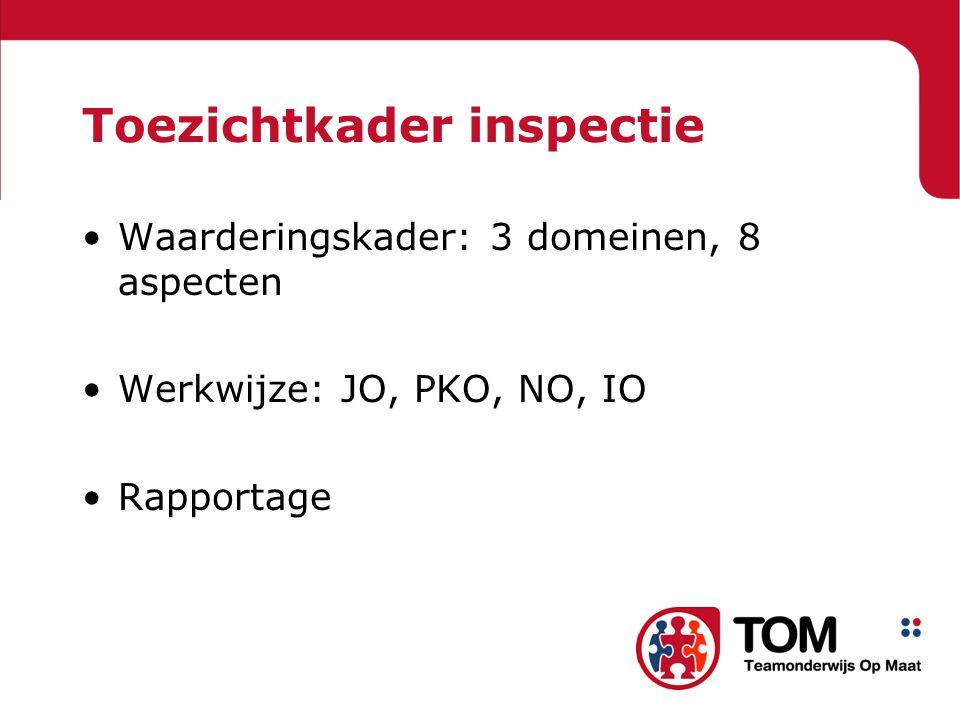 Toezichtkader inspectie Waarderingskader: 3 domeinen, 8 aspecten Werkwijze: JO, PKO, NO, IO Rapportage