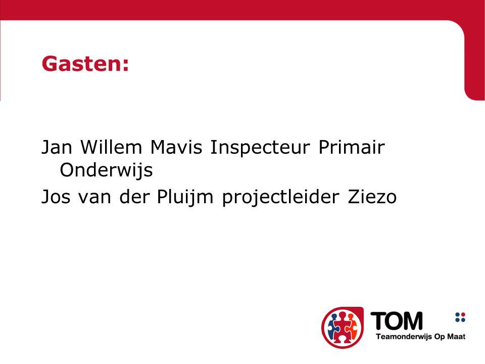 Gasten: Jan Willem Mavis Inspecteur Primair Onderwijs Jos van der Pluijm projectleider Ziezo