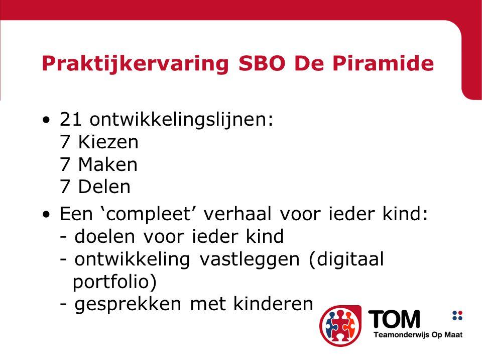 Praktijkervaring SBO De Piramide 21 ontwikkelingslijnen: 7 Kiezen 7 Maken 7 Delen Een 'compleet' verhaal voor ieder kind: - doelen voor ieder kind - ontwikkeling vastleggen (digitaal portfolio) - gesprekken met kinderen