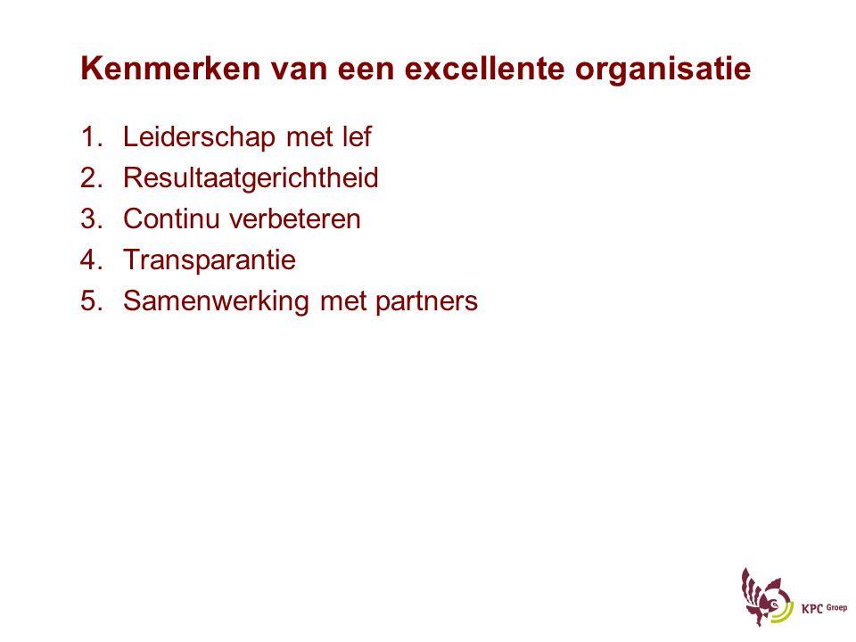 Kenmerken van een excellente organisatie 1.Leiderschap met lef 2.Resultaatgerichtheid 3.Continu verbeteren 4.Transparantie 5.Samenwerking met partners