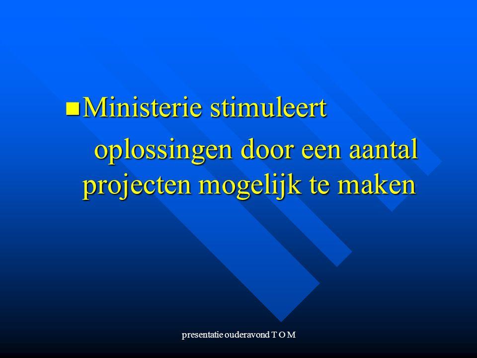 presentatie ouderavond T O M Ministerie stimuleert oplossingen door een aantal projecten mogelijk te maken