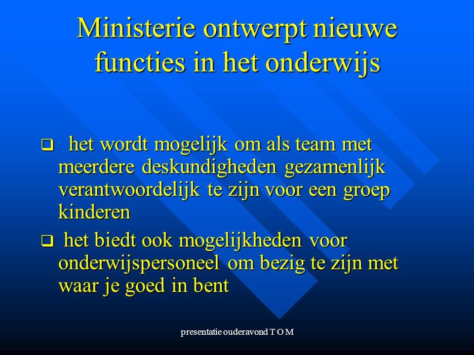 presentatie ouderavond T O M Ministerie ontwerpt nieuwe functies in het onderwijs  het wordt mogelijk om als team met meerdere deskundigheden gezamen