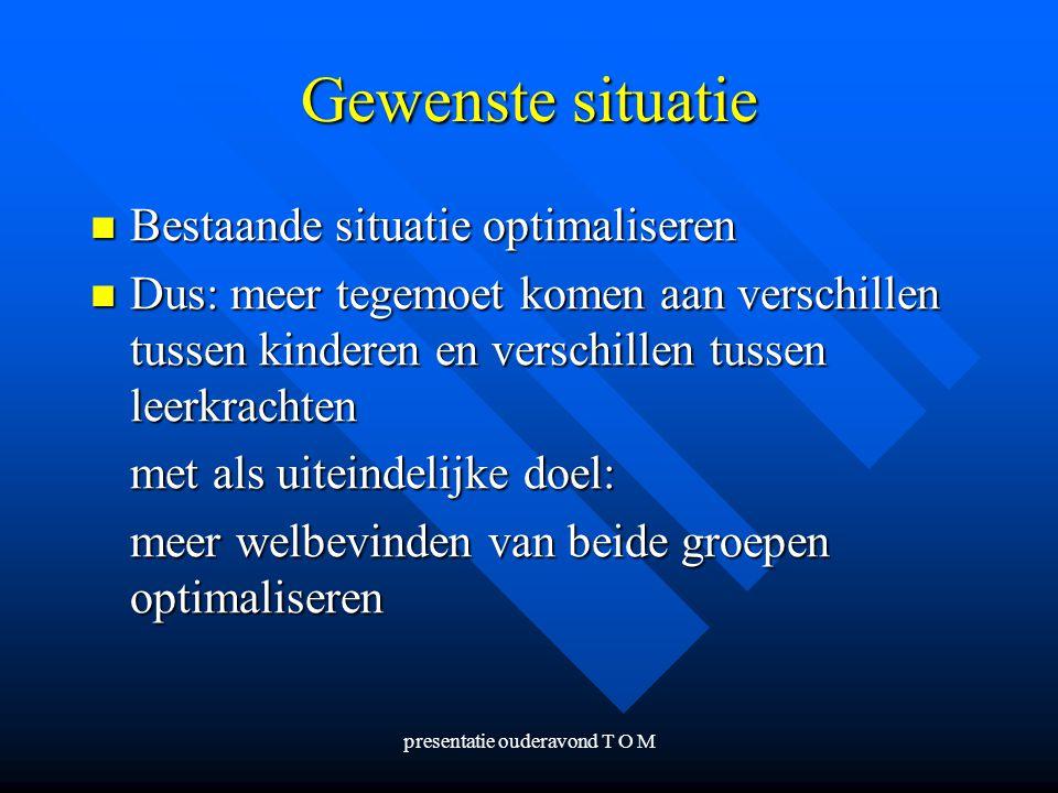 presentatie ouderavond T O M Gewenste situatie Bestaande situatie optimaliseren Bestaande situatie optimaliseren Dus: meer tegemoet komen aan verschil