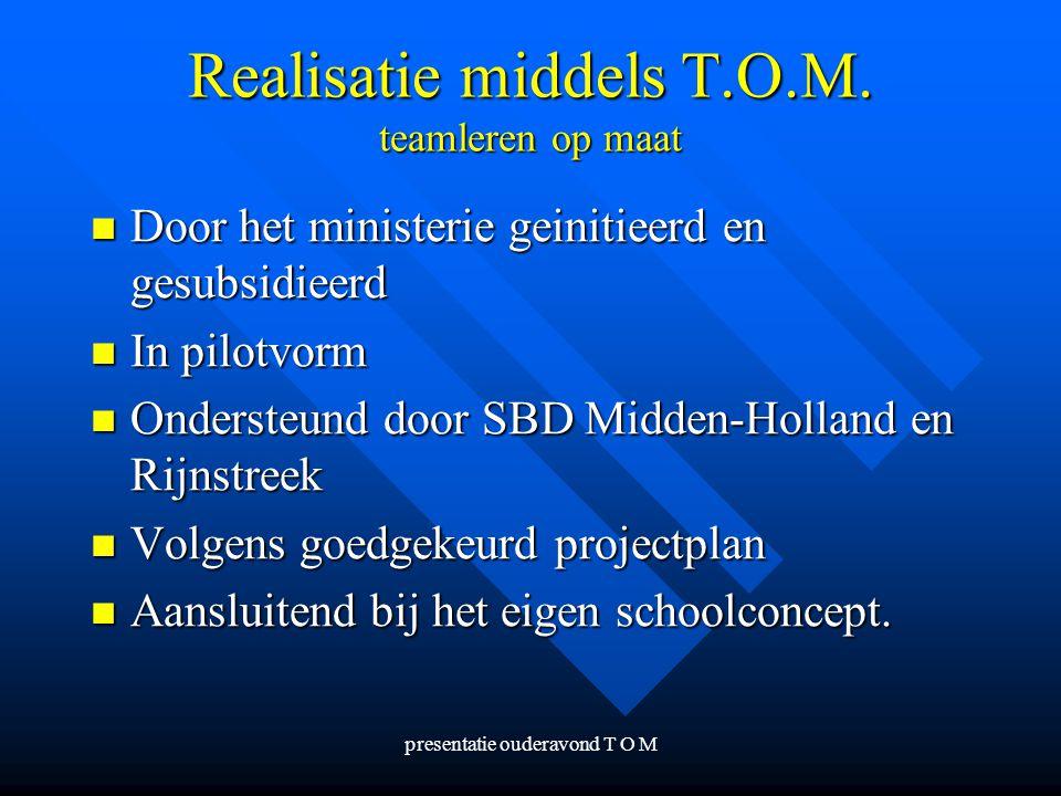 presentatie ouderavond T O M Realisatie middels T.O.M. teamleren op maat Door het ministerie geinitieerd en gesubsidieerd Door het ministerie geinitie