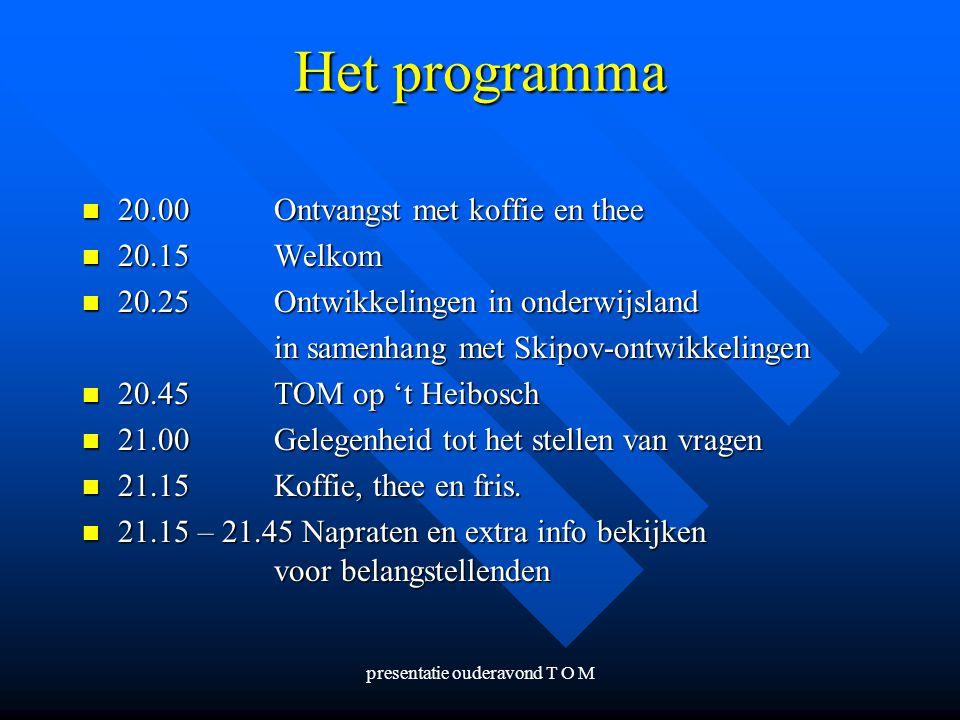 presentatie ouderavond T O M Het programma 20.00Ontvangst met koffie en thee 20.00Ontvangst met koffie en thee 20.15Welkom 20.15Welkom 20.25Ontwikkeli
