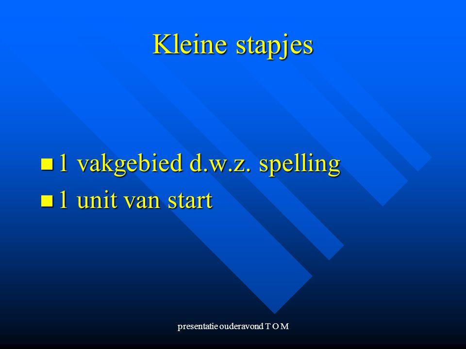 presentatie ouderavond T O M Kleine stapjes 1 vakgebied d.w.z. spelling 1 vakgebied d.w.z. spelling 1 unit van start 1 unit van start