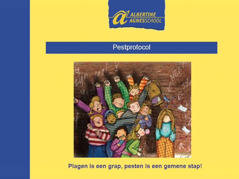 Pestprotocol Plagen is een grap, pesten is een gemene stap!