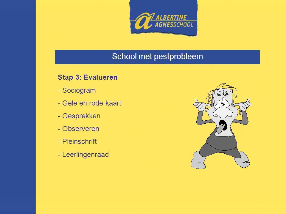 School met pestprobleem Stap 3: Evalueren - Sociogram - Gele en rode kaart - Gesprekken - Observeren - Pleinschrift - Leerlingenraad