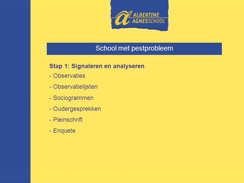 School met pestprobleem Stap 1: Signaleren en analyseren - Observaties - Observatielijsten - Sociogrammen - Oudergesprekken - Pleinschrift - Enquete