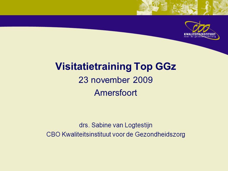 Visitatietraining Top GGz 23 november 2009 Amersfoort drs. Sabine van Logtestijn CBO Kwaliteitsinstituut voor de Gezondheidszorg