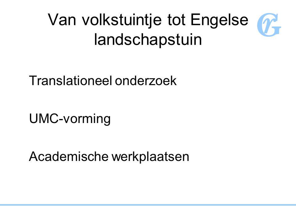 Van volkstuintje tot Engelse landschapstuin Translationeel onderzoek UMC-vorming Academische werkplaatsen