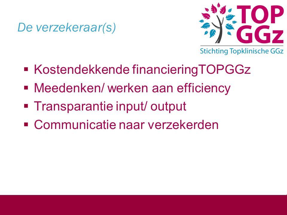 De verzekeraar(s)  Kostendekkende financieringTOPGGz  Meedenken/ werken aan efficiency  Transparantie input/ output  Communicatie naar verzekerden