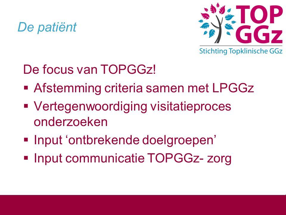 De patiënt De focus van TOPGGz!  Afstemming criteria samen met LPGGz  Vertegenwoordiging visitatieproces onderzoeken  Input 'ontbrekende doelgroepe
