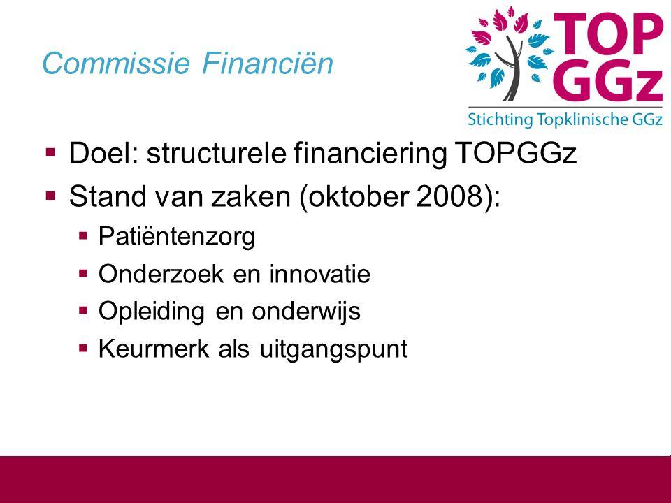 Commissie Financiën  Doel: structurele financiering TOPGGz  Stand van zaken (oktober 2008):  Patiëntenzorg  Onderzoek en innovatie  Opleiding en