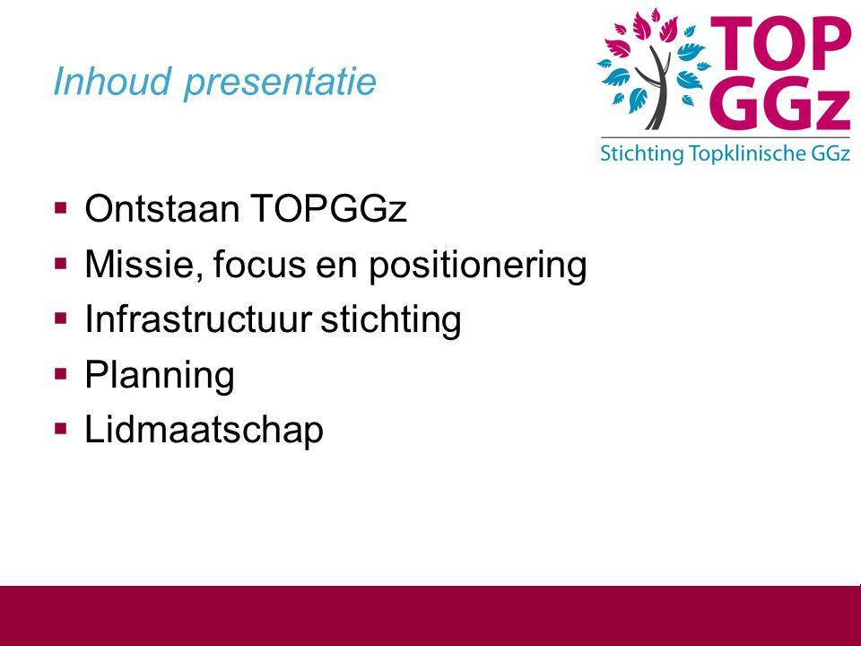 Inhoud presentatie  Ontstaan TOPGGz  Missie, focus en positionering  Infrastructuur stichting  Planning  Lidmaatschap
