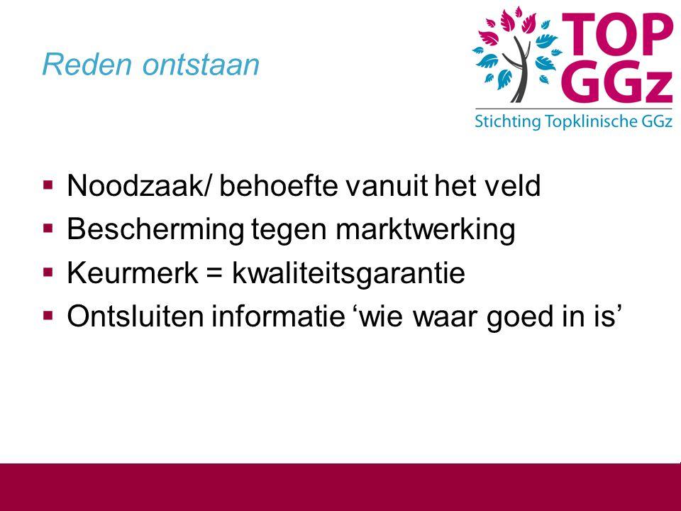 Reden ontstaan  Noodzaak/ behoefte vanuit het veld  Bescherming tegen marktwerking  Keurmerk = kwaliteitsgarantie  Ontsluiten informatie 'wie waar