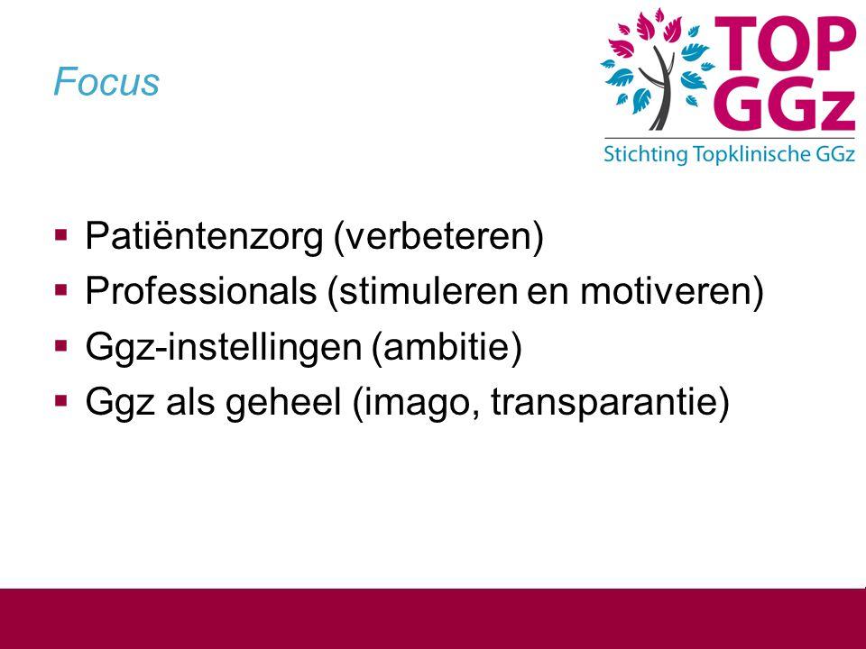 Focus  Patiëntenzorg (verbeteren)  Professionals (stimuleren en motiveren)  Ggz-instellingen (ambitie)  Ggz als geheel (imago, transparantie)