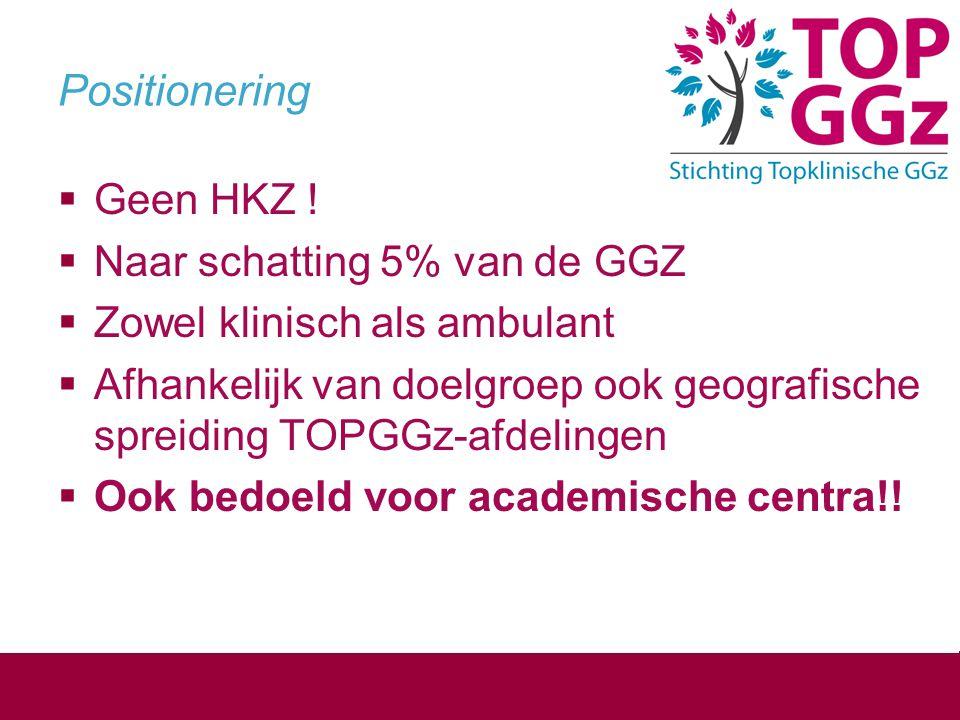 Positionering  Geen HKZ !  Naar schatting 5% van de GGZ  Zowel klinisch als ambulant  Afhankelijk van doelgroep ook geografische spreiding TOPGGz-