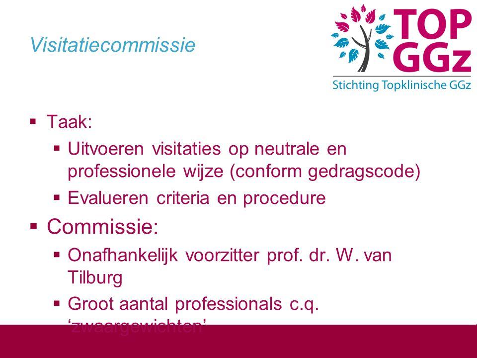 Visitatiecommissie  Taak:  Uitvoeren visitaties op neutrale en professionele wijze (conform gedragscode)  Evalueren criteria en procedure  Commiss