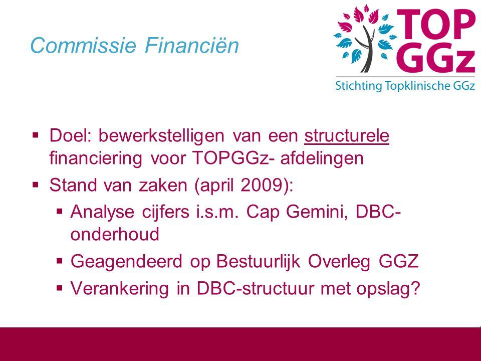 Commissie Financiën  Doel: bewerkstelligen van een structurele financiering voor TOPGGz- afdelingen  Stand van zaken (april 2009):  Analyse cijfers