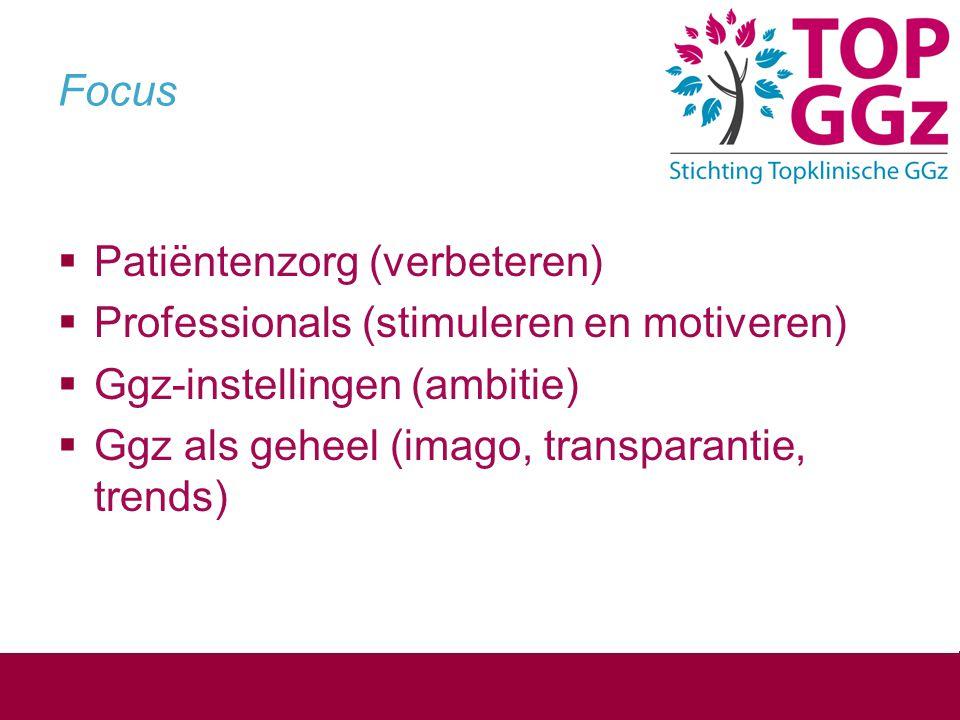 Focus  Patiëntenzorg (verbeteren)  Professionals (stimuleren en motiveren)  Ggz-instellingen (ambitie)  Ggz als geheel (imago, transparantie, tren